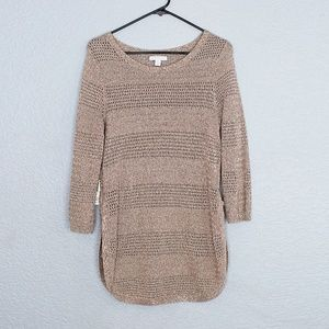 New York & Company Beige Sweater Size M 3/4 sleeve